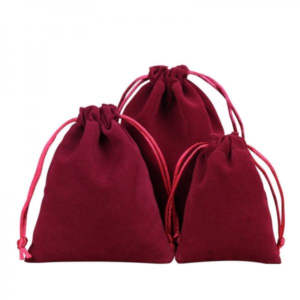 burgundy faux suede drawstring bag