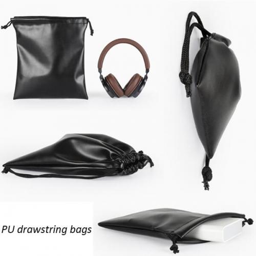Black Leatherette Drawstring Bags