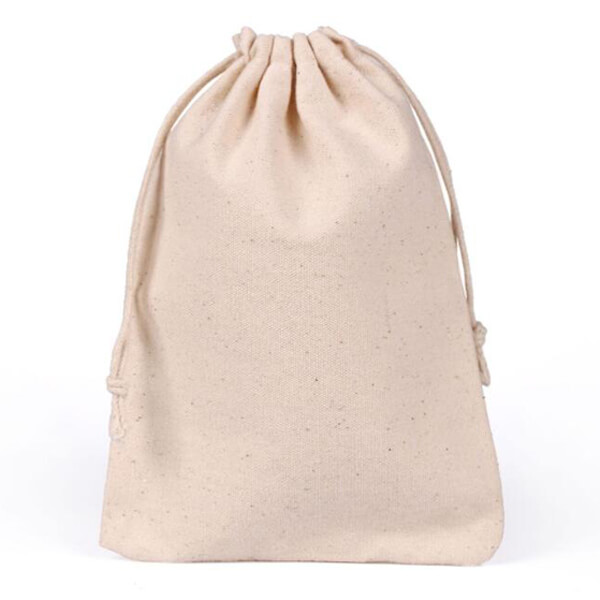 muslin cotton pouch with drawstring