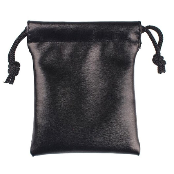 small leather drawstring pouch bag