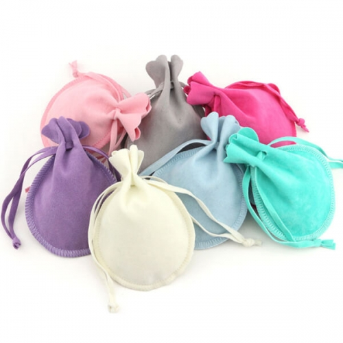 suede bell round pouches