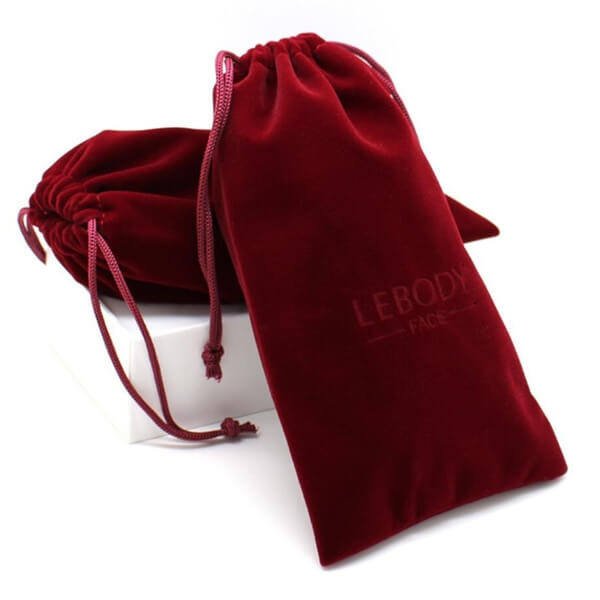 red suede drawstring pouches
