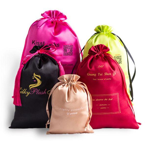 satin pouches with logo